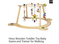 Hess wooden baby toddler toy and walking trainer