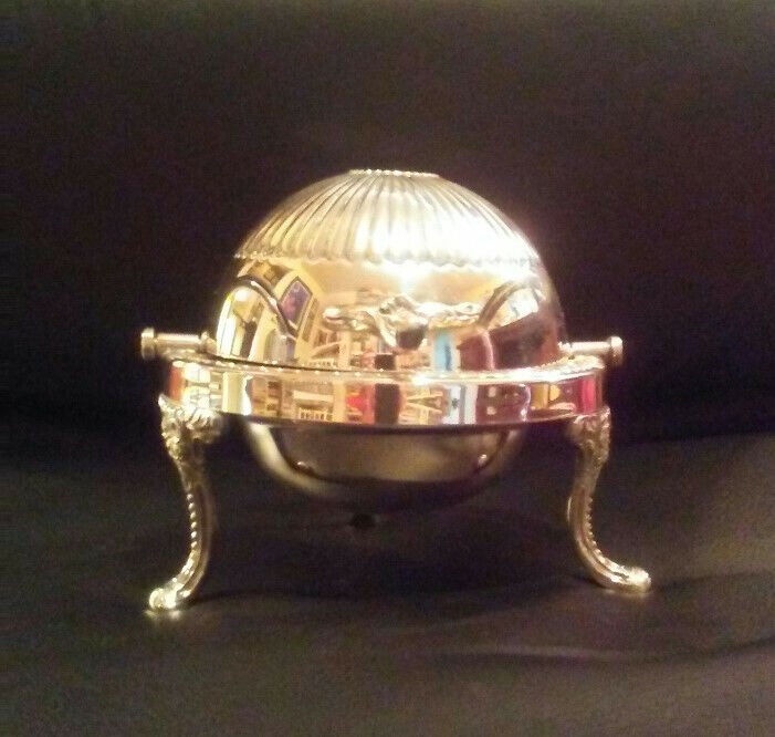 SILVER-PLATE ROLL-TOP CAVIAR/BUTTER DISH, SILVER ON BRASS, ENGLISH, 1910