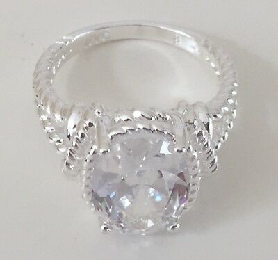 New Avon BOLD CZ Cubic Zirconia Rope Ring in Silver - Cluster Stone - Sz 7, 8, 9