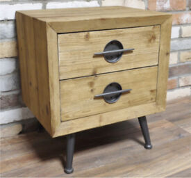 New Retro Vintage Style wood metal bedside cabinets 2 Drawers Industrial Chic