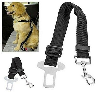 Pet Dog Adjustable Travel SEAT BELT Car Safety Harnesses Lead Restraint Strap UK