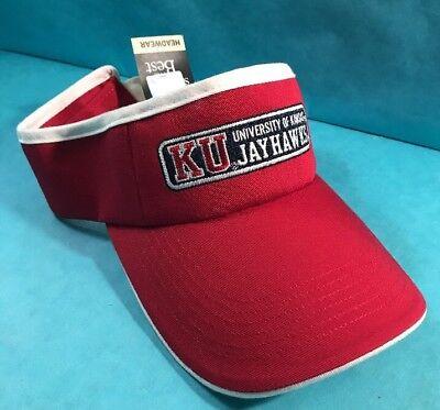 6a651d63 University of Kansas Jayhawks KU Visor Red Gear for Sports Headwear Hat New