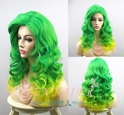 Green yellow Lady Gaga hair long curly gradient color cosplay girs fashion wig - Lady Gaga Yellow Wig