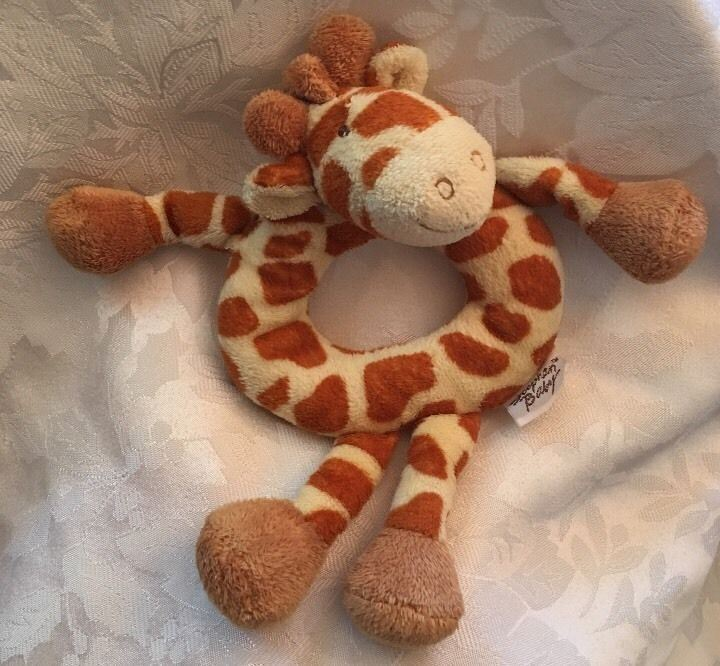 Stephan Baby Giraffe Rattle Ring Plush Yellow Brown Soft Toy