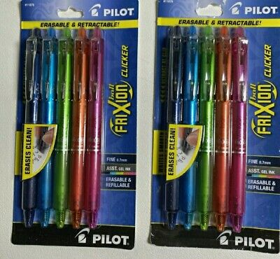 Pilot Frixion Ball Clicker Fine Point Erasable Refillable Gel Pens 2 Packs Of 5