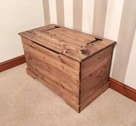 ***Dark Stained & Antique Waxed Pine Ottoman***ONLY £79***