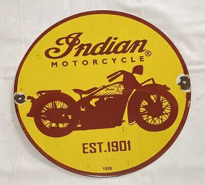 "VINTAGE INDIAN MOTORCYCLE 12"" PORCELAIN SIGN CAR GAS OIL GASOLINE AUTOMOBILE"