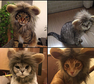 New Pet Dog Hat Costume Lion Mane Wig For Cat Halloween Dress Up With Ears