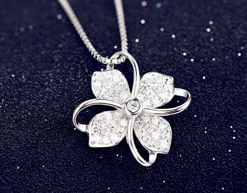 Jewellery - Clover Crystal Pendant 925 Sterling Silver Chain Necklace Women Ladies Jewellery