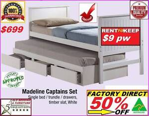 New Single Bed Trundle And Drawers 50% Off @ $699 Or Rent To Keep Ipswich Region Preview