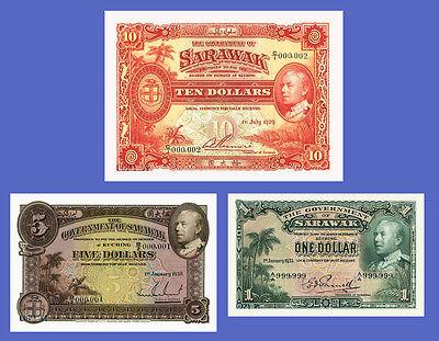 SARAWAK - Lots of 3 notes - 1...10 Dollars - Reproductions
