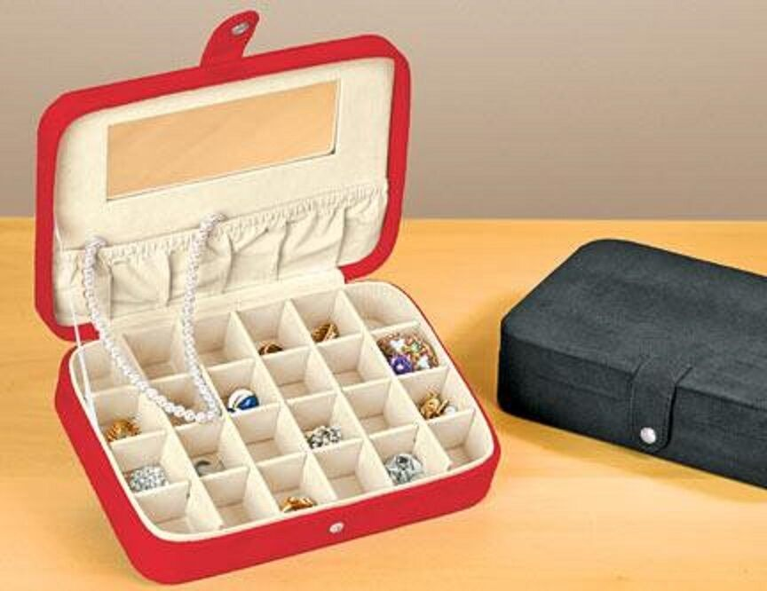 Earring and Ring Case Plush Fabric Jewelry Box with Twenty-Four Sections NEW Jewelry & Watches
