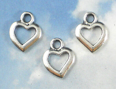 20 Open Heart Charms Antiqued Silver Tone Jewelry, Paper Arts, DIY Wedding #P622