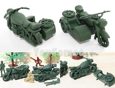 2 pcs Military Motorcycle Side Car Plastic Toy Soldier Army Men Accessories