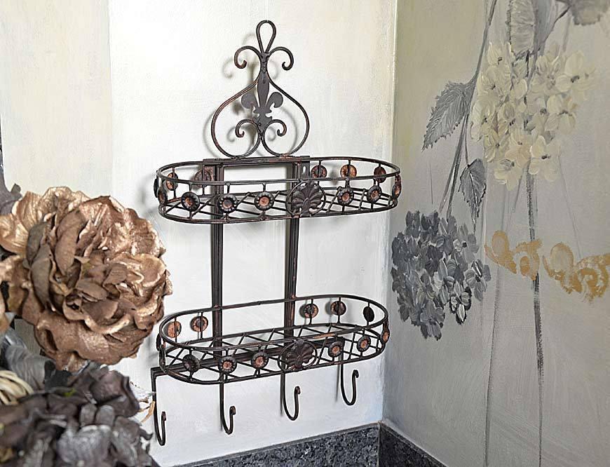 wandregal vintage badregal antik shabby k chenregal chic landhausstil ablage eur 29 00. Black Bedroom Furniture Sets. Home Design Ideas