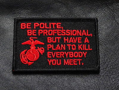 MARINE CORPS USMC RED BLACK FUNNY TACTICAL MORALE HOOK LOOP PATCH