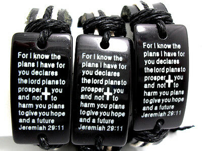 3Pcs Leather Men's  wristband bracelets religious Jewelry Bible Verse Cross Gift