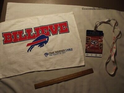 Lot of 2 Buffalo Bills Items 2009 50 years Commemorative Ticket Towel Billieve