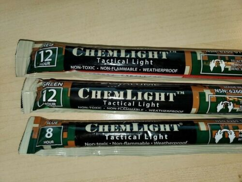 Cyalume ChemLight (Single) Choose color (Green, Red, Blue) Glow Sticks - Sealed