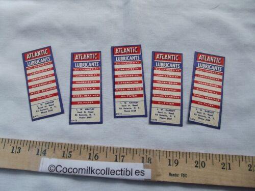 Vintage 1950s Lot 5 Atlantic Gas Station Door Tab Stickers LW Gartley Batavia NY