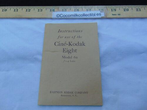 Vintage 1935 Instructions Manual Cine Kodak Eight Model 60 F/1.9 Lens Rochester