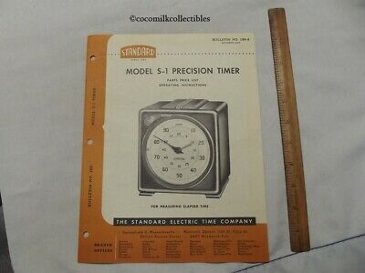 1954 Parts Price List Standard Electric Time Co Model S-1 Precision Timer Clock