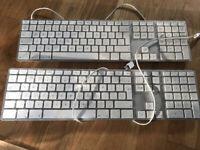 2 Apple Keyboards A1243 EMC 2171 Wired Aluminium: 1 works bar 4/5 keys; 1 faulty
