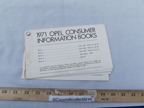 1971 Opel Consumer Information Booklet Models 1100 1900 Rallye 1900 GT Dealer