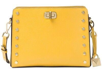 New Michael Kors Sylvie Stud Medium Messenger sunflower  leather turnlock bag