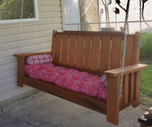 Stained cedar porch swing. 3 Seater. $450