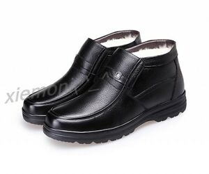 mens dress winter thicken formal shoes snow boots casual