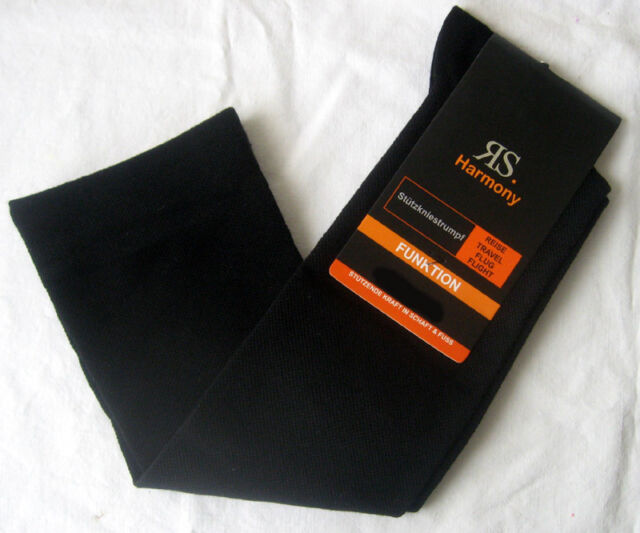 Support knee stockings Vein friendly at Sit and Are available black 39 to 46