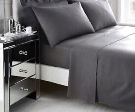 4 New Grey 100% Cotton Standard Housewife Pillow Cases by SaSa Craze Bedding.