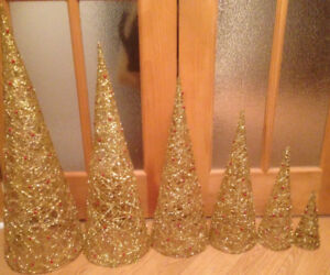 6 Gold Nested Decorative Christmas trees