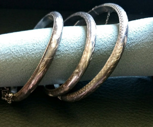 Set of Three Vintage Sterling Silver Bangles Adult & Child