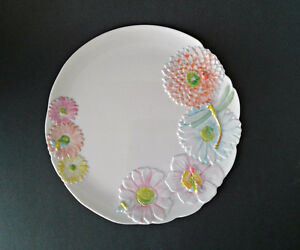 Precidio Melamine 10 1/2 Inch Dragonfly and Spring Flowers Plate