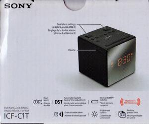 *NEW* Compact Sony AM/FM Clock Radio-Dual Alarm-Battery Backup