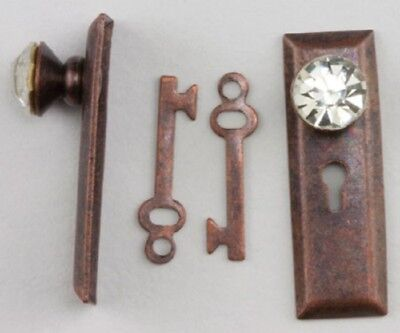 Miniature Crystal Classic Door Knob and Back Plate in Oil Rubbed Bronze Finish b
