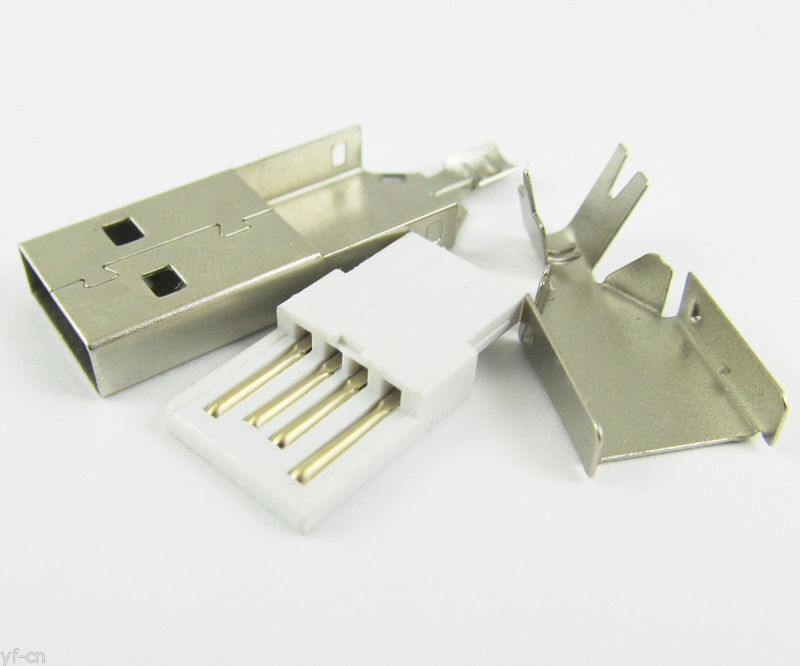 1set Metal Shell Housing A Type USB 4 Pin Male Plug Socket Connector For PC Use