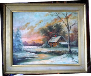 "Antique Early French Artist Paul Welsch ""Paysage d'Hiver"" 1927 Stratford Kitchener Area image 1"