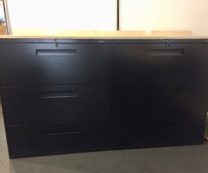 2 Global Contract 3 Drawer Lateral Filing Cabinets/Charcoal