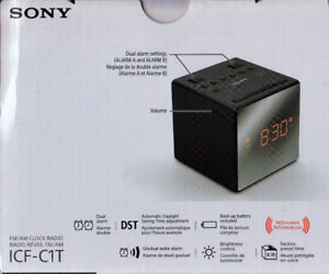 *NEW* Compact Sony AM/FM Clock Radio-Dual Alarm-Battery Backup