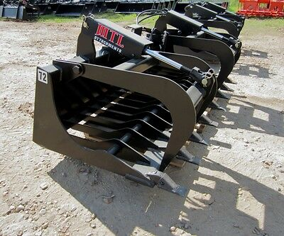 Mtl Attachments Hd 72  Skid Steer Rock Grapple Bucket Twin Cylinder   169 Ship