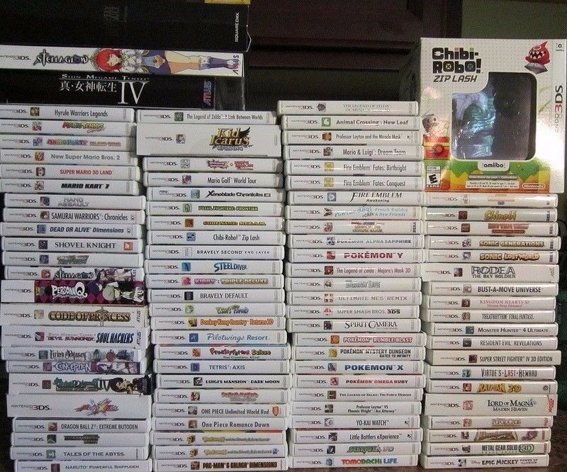 NEW VERSION 3DS XL BLACK + LOTS OF GAMES + PSU + POKEMON ZELDA MARIO METROID SD CARD SNES NINTENDO