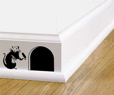 Home Decoration - Wall art banksy rat skirting board sticker home decor