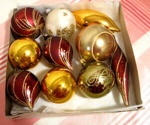 Ensemble de 10 boules de Noël en verre # N546