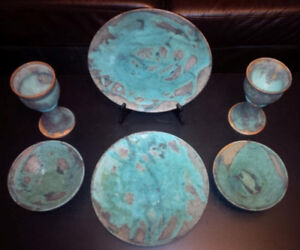Unique 6 Piece Hand-Made Pottery Dish Set F/S