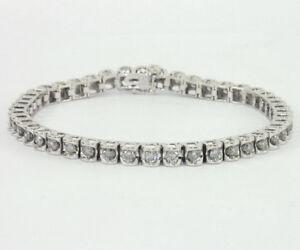 NEW CERTIFIED 1.00 DIAMOND 14K WHITE GOLD TENNIS BRACELET