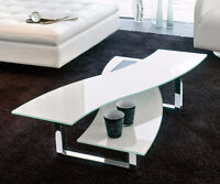 CLEARANCE SALE - WHITE GLASS COFFEE TABLE - HELIX TABLE