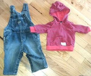 OshKosh Denim overalls & Carter`s red and navy hoodie 3-6 months